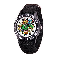 Marvel Hulk Kid's Black Plastic Time Teacher Watch w/ Nylon Strap