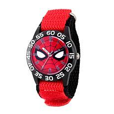Marvel Spider Man Kids  Time Teacher Watch Red Hook and Loop Strap