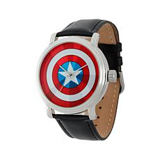 Marvel's Captain America Silvertone Black Leather Strap Watch