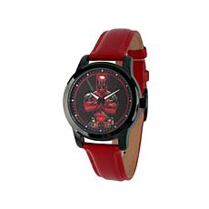 Marvel's Deadpool Red Leather Strap Watch