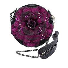 Mary Frances Bewitching Handbeaded Flower Handbag