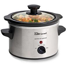 Maxi-Matic Elite Gourmet 1.5 Qt. Mini Slow Cooker in Stainless Steel