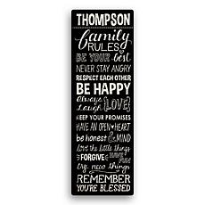 MBM Family Rules Personalized 9x27 Personalized Canvas - Black