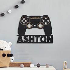 MBM Gamer Controller Personalized Black Wood Plaque