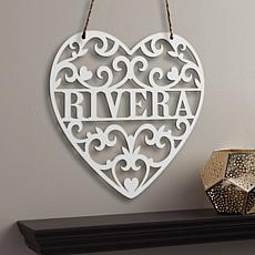 MBM Loving Heart Personalized Hanging Antique White Wood Plaque