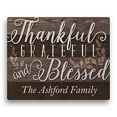 MBM Thankful, Grateful and Blessed Personalized 16x20 Canvas