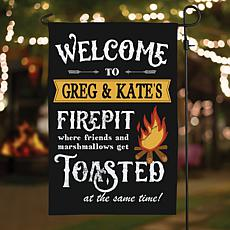 MBM Welcome To Our Firepit Personalized Garden Flag