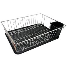 MegaChef 16 Inch Chrome Plated and Plastic Counter Top Drying Dish ...