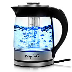 MegaChef 1.8Lt. Glass Body and Stainless Steel Electric Tea Kettle ...