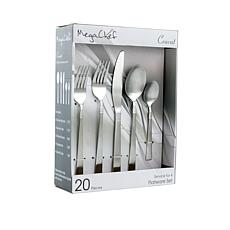 MegaChef Cravat 20 Piece Flatware Utensil Set, Stainless Steel Silv...