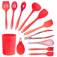 MegaChef Red Silicone Cooking Utensils, Set of 12