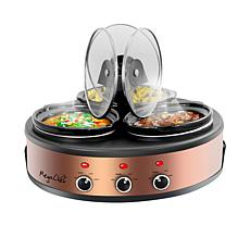 MegaChef Round Triple 1.5 Quart Slow Cooker and Buffet Server in Br...