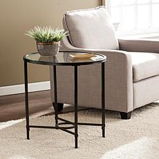 Melinda Metal/Glass Oval Side Table - Black