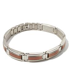 "Men's 2-Tone Stainless Steel Link 8-3/4"" Bracelet"