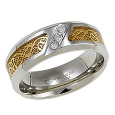 Men's 3-Diamond Filigree-Design 8mm Wedding Band