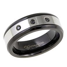"Men's Black Diamond-Accented ""Black & White"" 2-Tone 8mm Wedding Band"