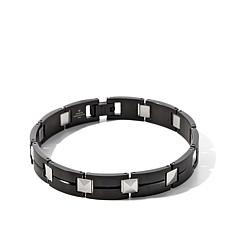 "Men's Black Stainless Steel & Tungsten Stud 9"" Bracelet"