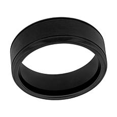 Men's Black Stainless Steel Grooved 8mm Band Ring