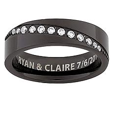 Mens Black Titanium Diagonal CZ Engraved Message Band