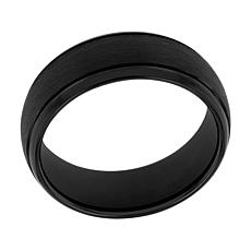 Men's Black Tungsten Frozen Satin Center Grooved Band Ring