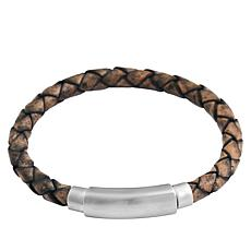 Men's Brushed Stainless Steel Braided Leather Bracelet