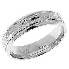 Men's Diamond-Cut X-Design 6mm Sterling Silver Ring