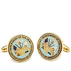 Men's Goldtone U.S. Army Military Seal Cuff Links