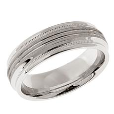 Men's Grooved & Milgrain 7mm Sterling Silver Band Ring
