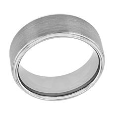 Men's Silver-tone Tungsten Satin Center Grooved Step Edge Band Ring