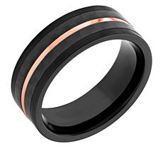 Men's Stainless Steel Black, Carbon Fiber and Rose IP 8MM Wedding Band