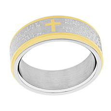 Men's Two-Tone Stainless Steel Lord's Prayer 8mm Band Ring