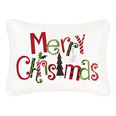 Merry Christmas Embroidered Pillow White