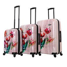 Mia Toro Paola Painted Flowers 3-piece Luggage Set