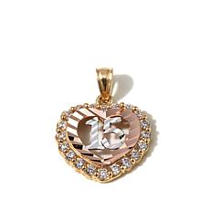 "Michael Anthony® 10K Gold  CZ Quinceanera ""15"" Pendant"
