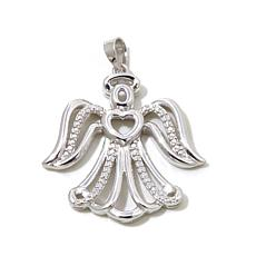 Michael Anthony™ Diamond-Accented Silver Angel Pendant