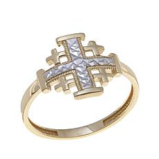 Michael Anthony Jewelry® 10K 2-Tone Cross Ring