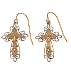 Michael Anthony Jewelry® 10K 2-Tone Footprint Cross Earrings