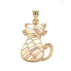 "Michael Anthony Jewelry® 10K Diamond-Cut ""Cat"" Pendant"