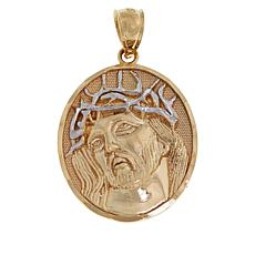 Michael Anthony Jewelry® 10K Round 2-Tone Jesus Medallion