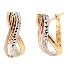 Michael Anthony Jewelry® 10K Tri-Color Swirl Hoop Earrings