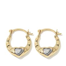 Michael Anthony Jewelry® 14K 2-Tone Heart Hoop Earrings