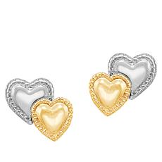 Michael Anthony Jewelry® 14K Kids Two-Tone Double Heart Stud Earrings