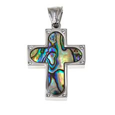 Michael Anthony Jewelry® Abalone Crystal-Accent Cross Pendant