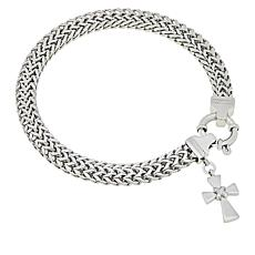 Michael Anthony Jewelry® Wheat Chain Bracelet with Cross Charm