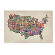 "Michael Tompsett ""US Cities Text Map VI"" Art- 30"" x 47"""