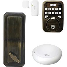 MiLocks MiEQ Smart HUB, Dead Bolt Lock & Door Sensor - Antique Brass
