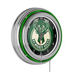 Milwaukee Bucks Double Ring Neon Clock