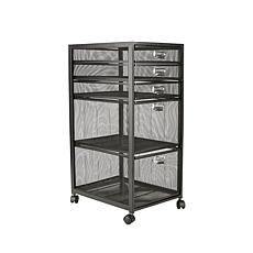 Mind Reader 5-Tiered Drawer Cabinet Rolling Mesh Office Cart