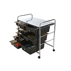Mind Reader 6-Drawer Rolling Utility Organizer Cart - White/Silver