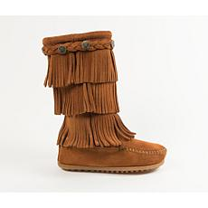 Minnetonka Child's Suede 3-Layer Fringe Concho Boot